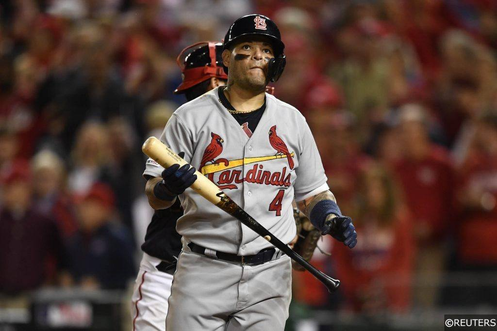 Yadier Molina striking out for the Cardinals