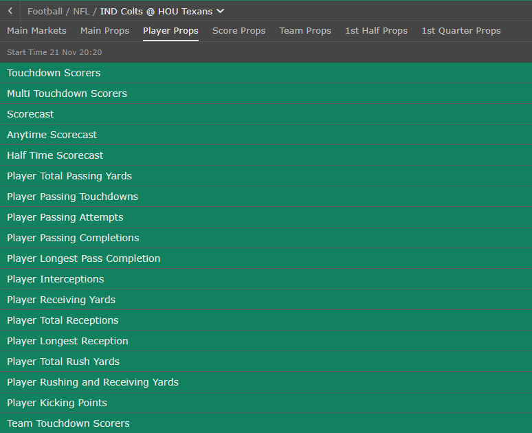bet365 NFL markets for Colts @ Texans
