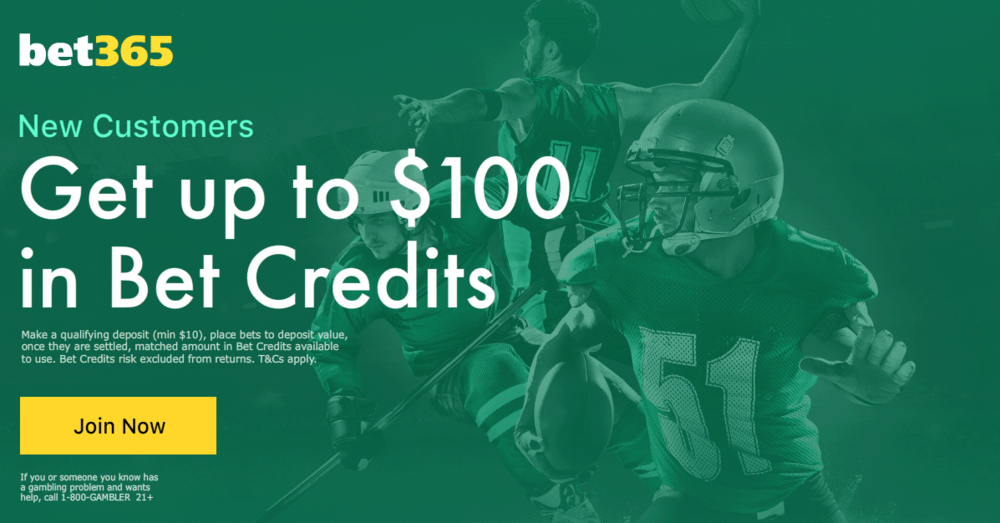 bet365 opening offer $100 in bet credits