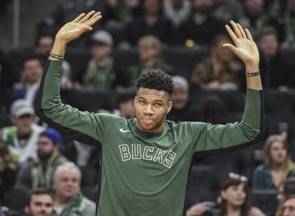 Giannis Antetokounmpo pumping up the crowd