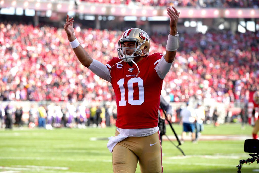49ers Quarterback Jimmy Garoppolo getting the crowd pumped up.