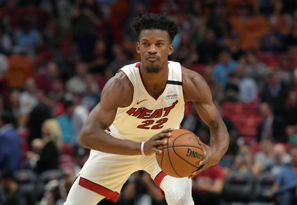 Miami Heat forward Jimmy Butler looks to pass.