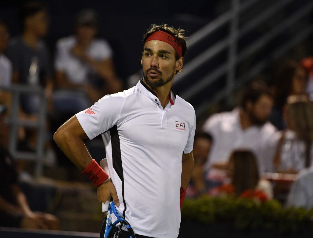 Fabio Fognini reacts following a point at the Rogers Cup.