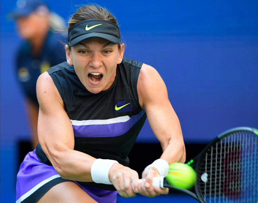 Simona Halep hits a backhand during U.S. Open action.