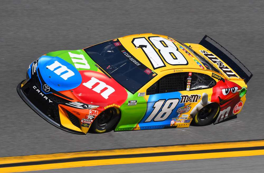 Kyle Busch drives the #18 M&M's Toyota for Joe Gibbs Racing