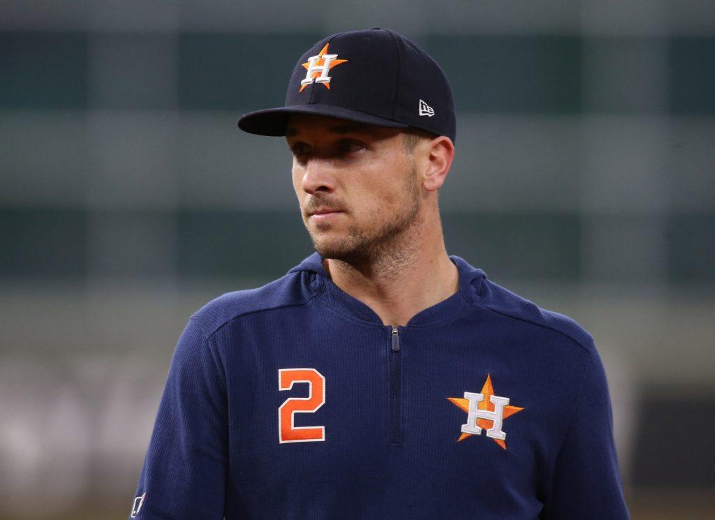 Alex Bregman warming up for the Houston Astros