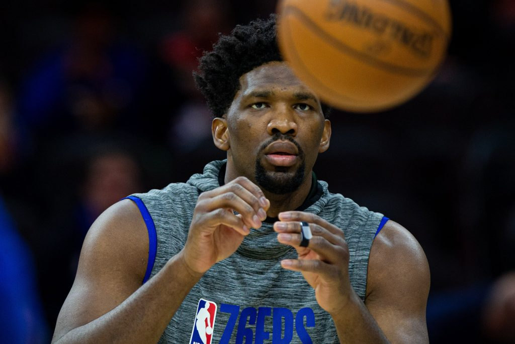 Joel Embiid of the Philadelphia 76ers warms up for a game.