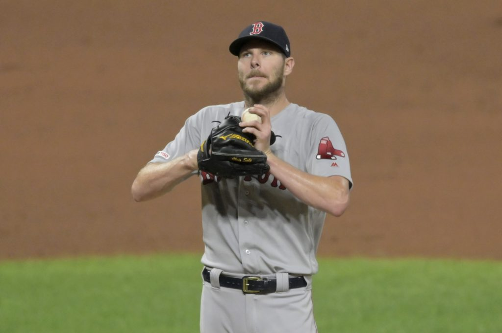 Chris Sale warms up for the Boston Red Sox