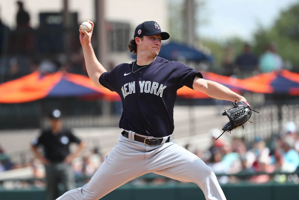 Gerrit Cole of the New York Yankees pitches during spring training.