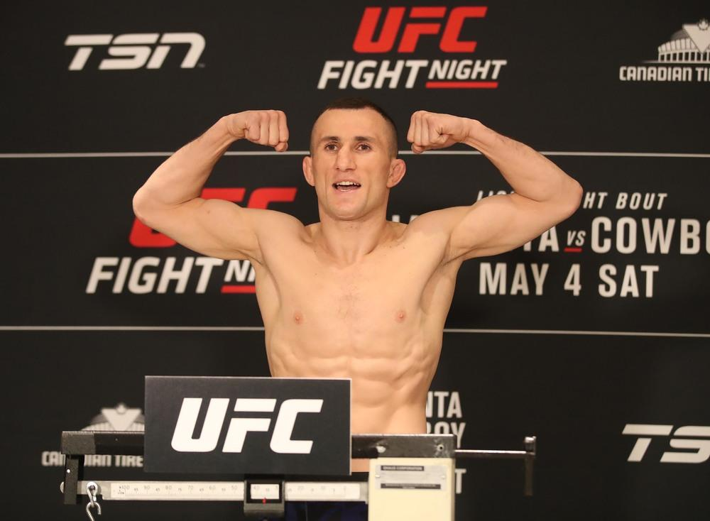 Merab Dvalishvili poses as he weighs in during weigh ins for UFC Fight Night at Canadian Tire Centre.