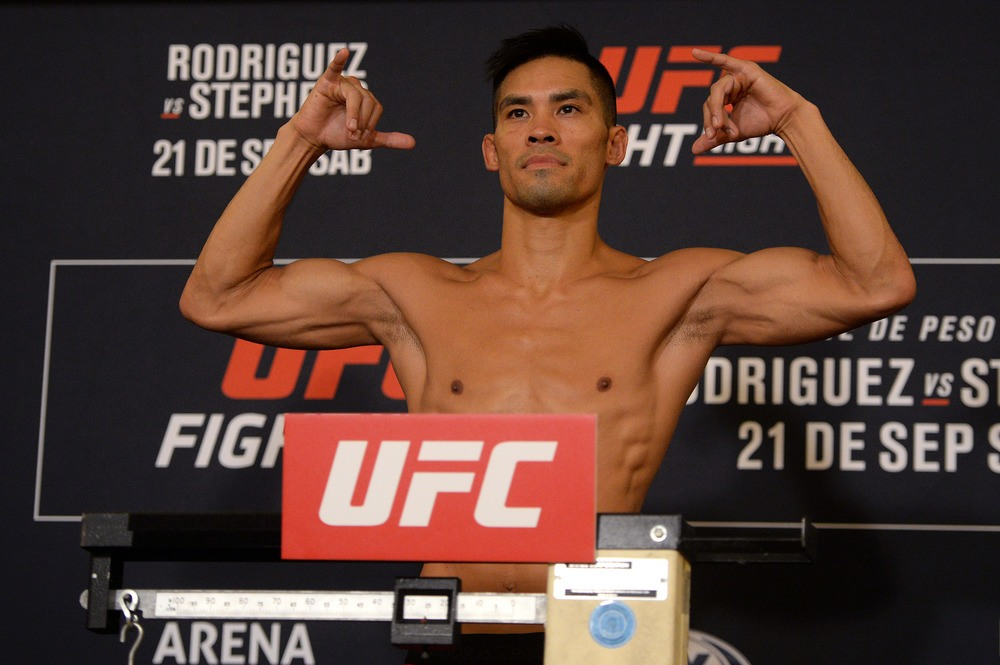 Tyson Nam poses during weigh ins for UFC Fight Night at JW Marriott.