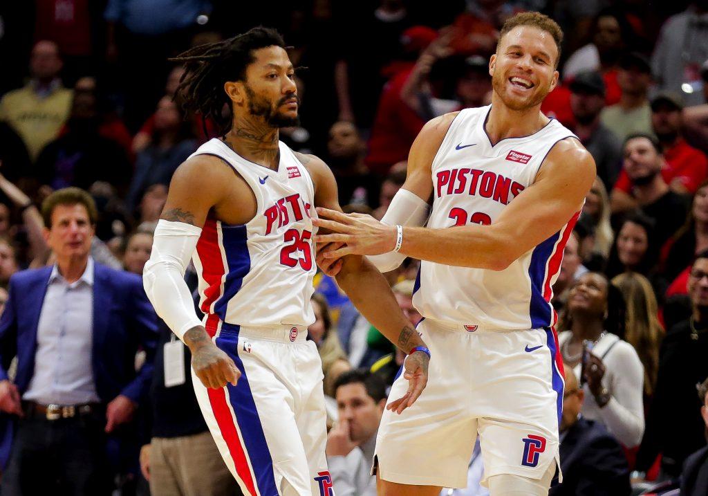 Detroit Pistons guard Derrick Rose and forward Blake Griffin