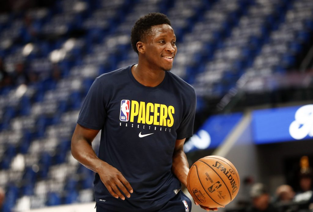 Victor Oladipo of the Indiana Pacers shoots around before a game.
