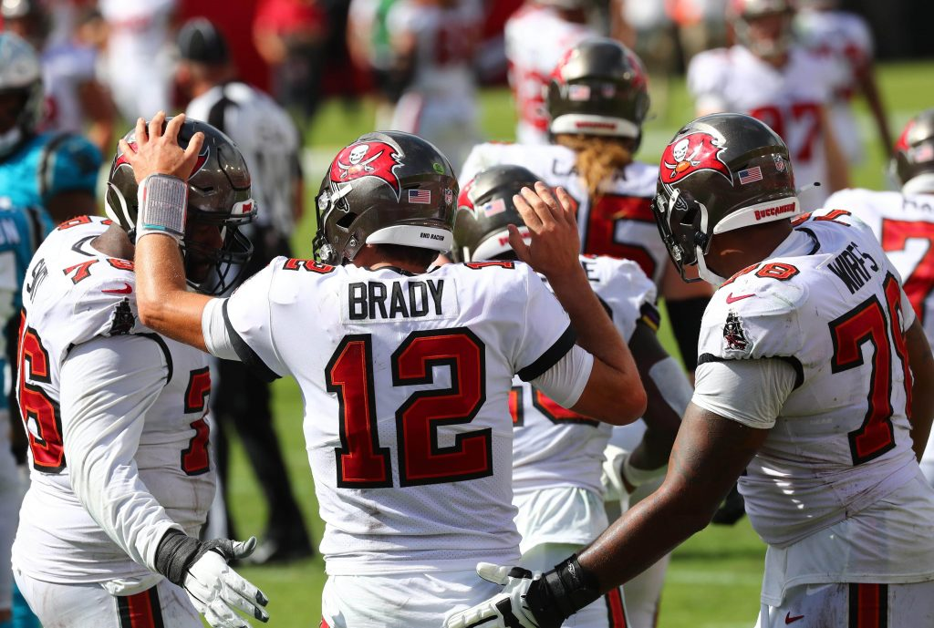 Tom Brady and the Tampa Bay Buccaneers celebrate a touchdown.