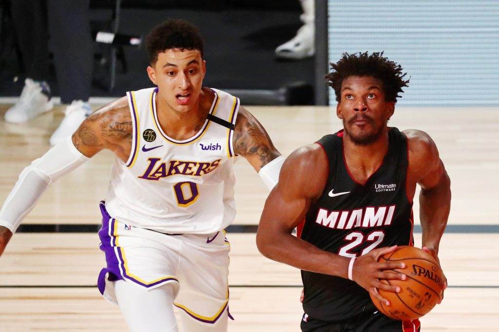 Kyle Kuzma of the Los Angeles Lakers and Jimmy Butler of the Miami Heat