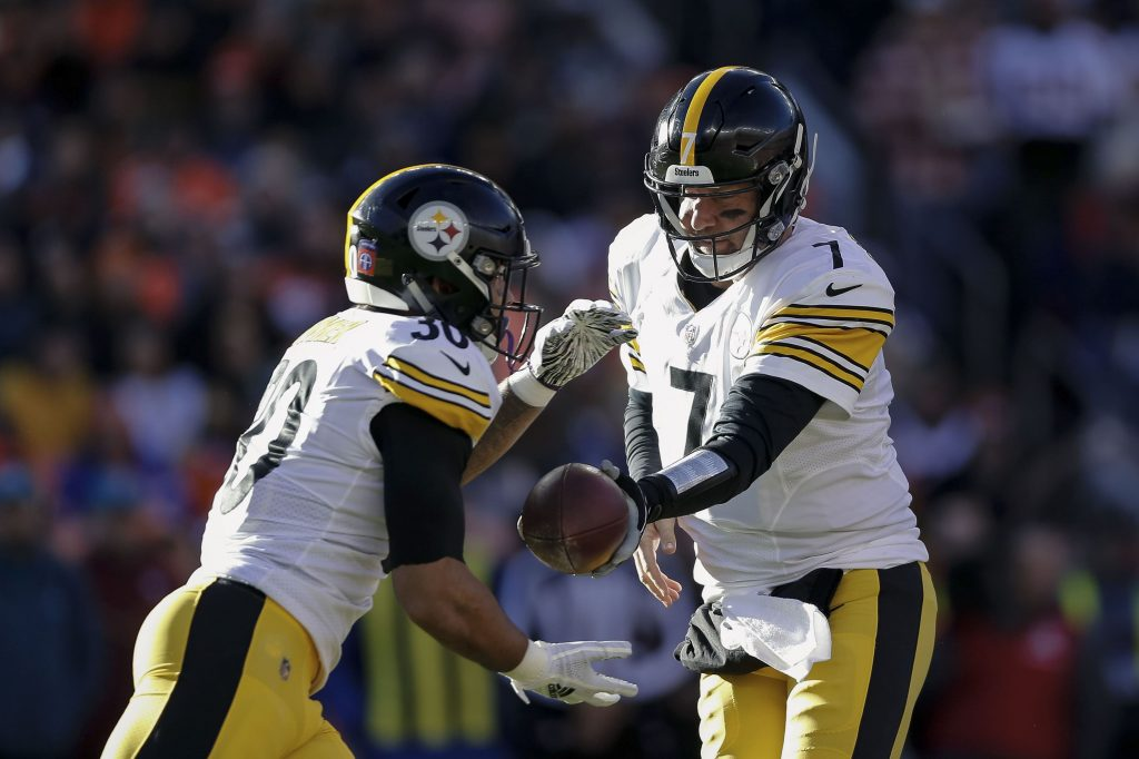 Ben Roethlisberger and James Conner of the Pittsburgh Steelers