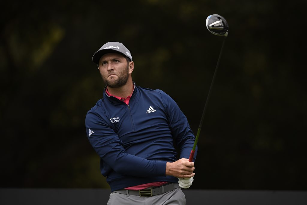 Jon Rahm tees off on the second hole during the Final round of the Zozo Championship golf tournament at Sherwood Country Club.