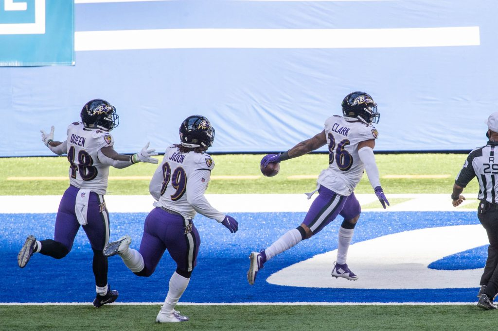 Baltimore Ravens safety Chuck Clark scores a touchdown during win over Colts