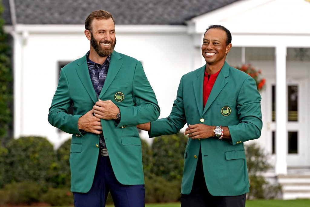 Dustin Johnson and Tiger Woods at The Masters