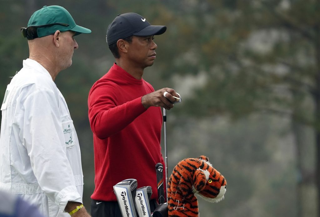 Tiger Woods prepares for a shot at the Masters