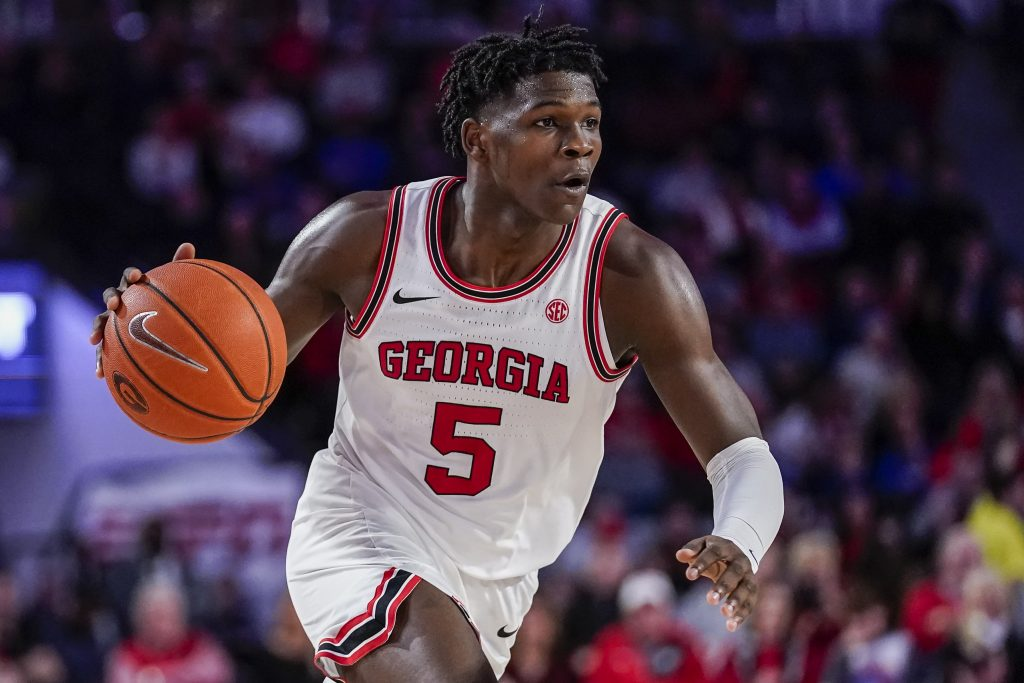 Anthony Edwards of Georgia dribbles up the floor