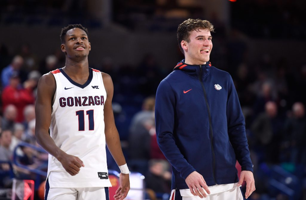 Corey Kispert and Joel Ayayi of the Gonzaga Bulldogs