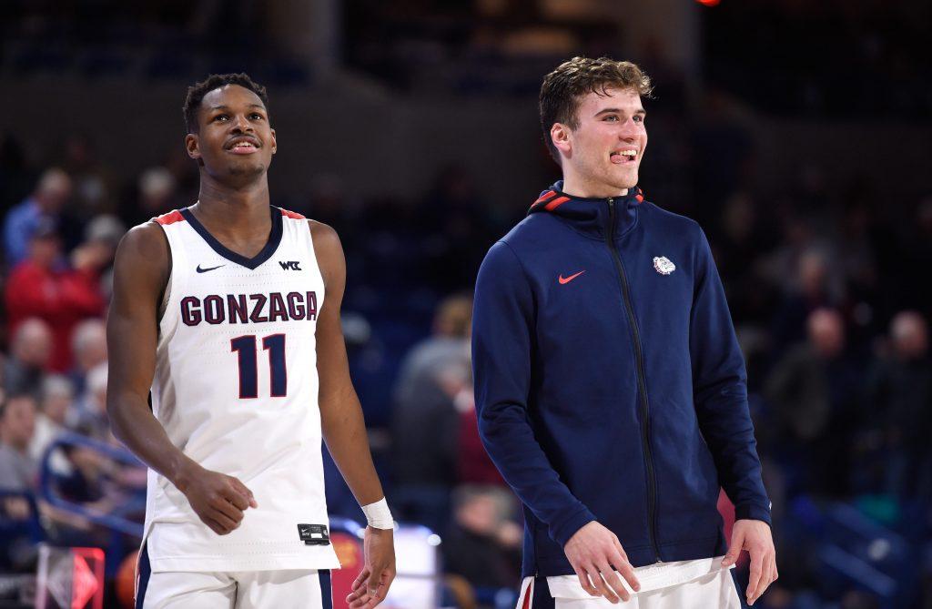 Corey Kispert and Joel Ayayi of the Gonzaga Bulldogs