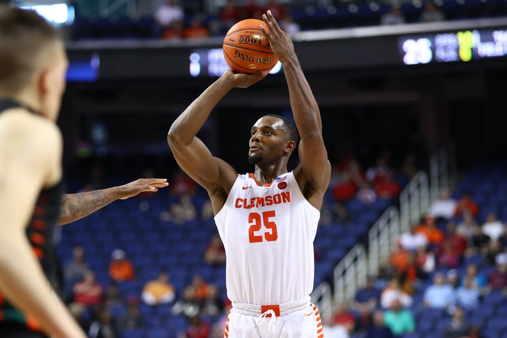 Clemson Tigers forward Aamir Simms shoots during game against Miami