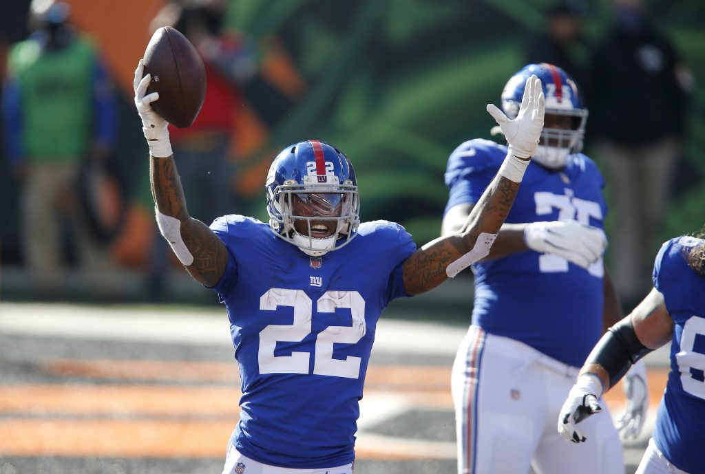 Wayne Gallman of the New York Giants after scoring a touchdown