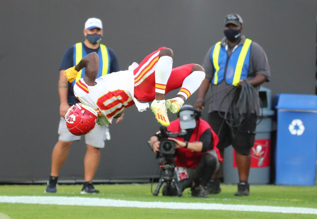 Kansas City Chiefs wide receiver Tyreek Hill (10) celebrates his touchdown scored with a back flip against the Tampa Bay Buccaneers during the first half at Raymond James Stadium.