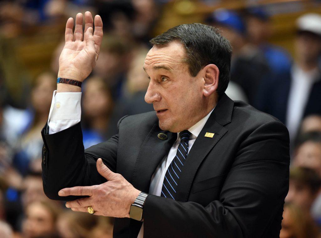 Duke Blue Devils head coach Mike Krzyzewski