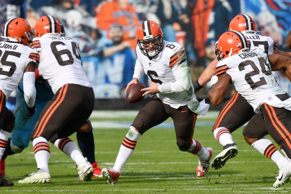 Baker Mayfield and Nick Chubb of the Cleveland Browns