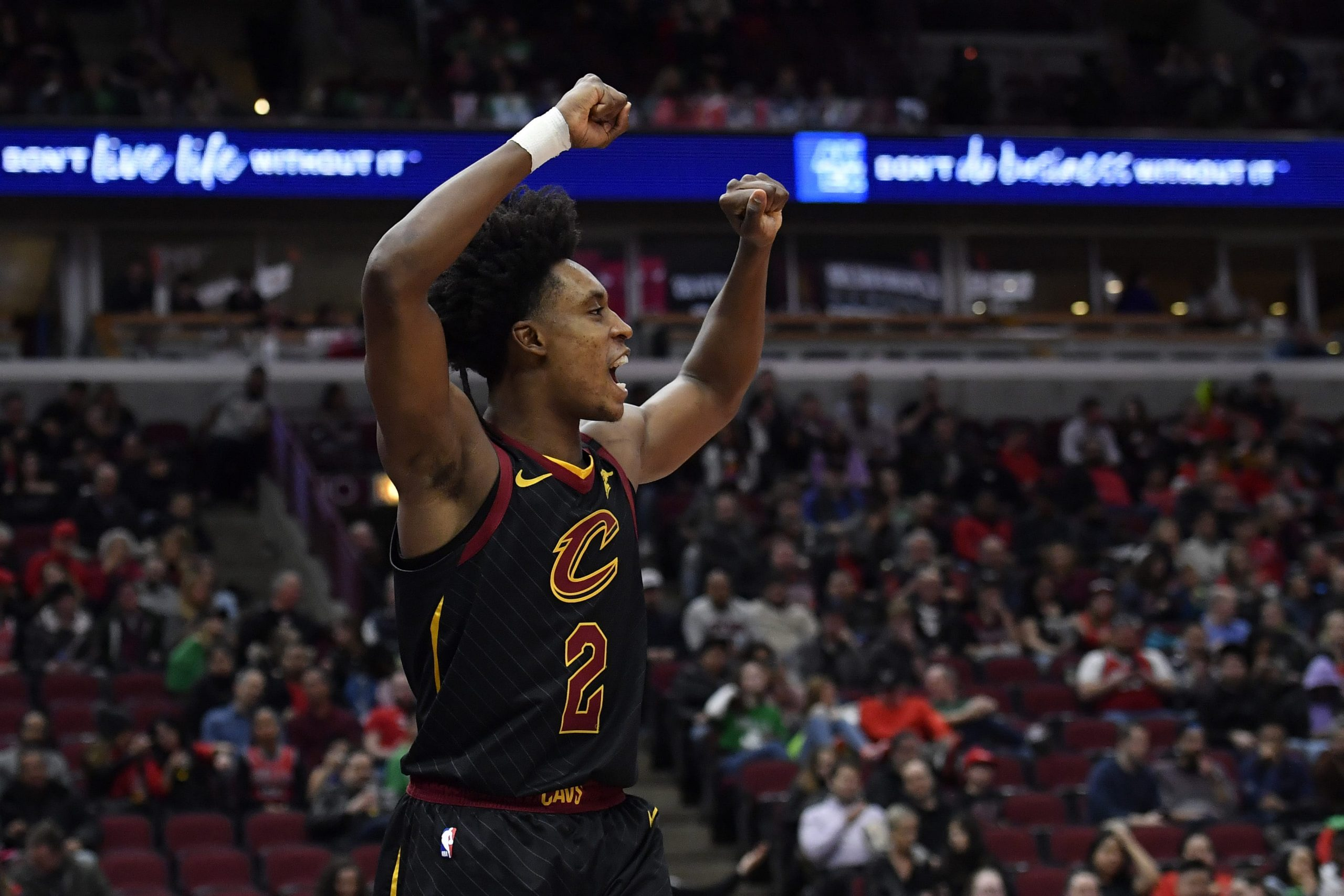 Cleveland Cavaliers guard Collin Sexton celebrates during game against Chicago Bulls