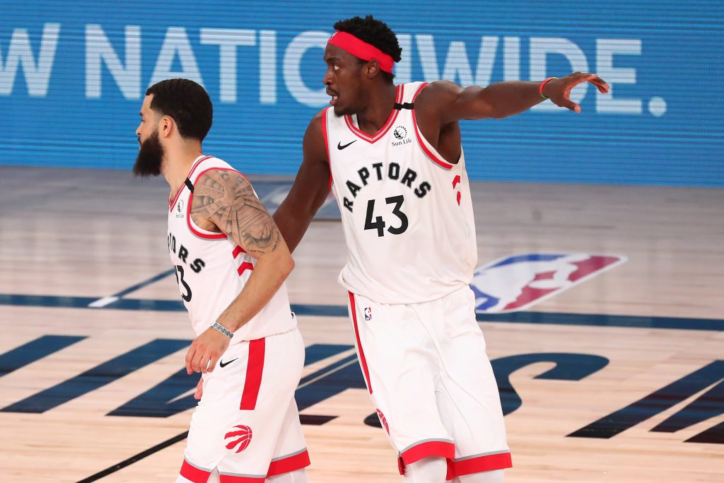 Pascal Siakam and Fred VanVleet of the Toronto Raptors