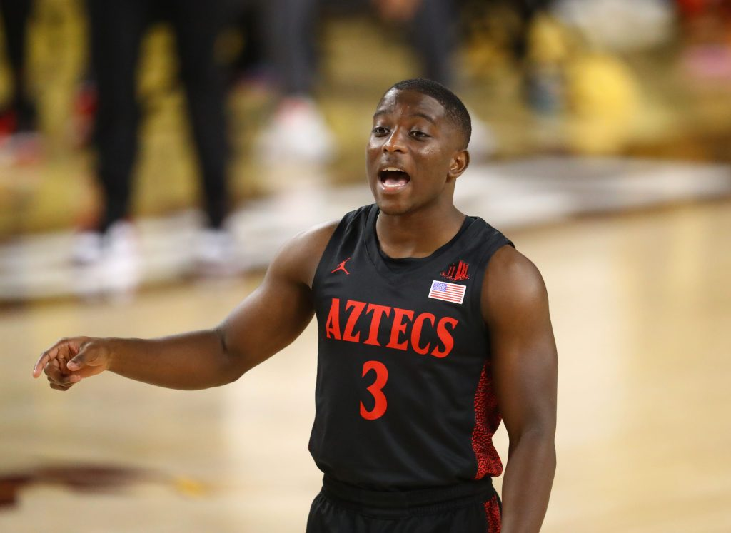 San Diego State Aztecs guard Terrell Gomez walks up court during win over Arizona State