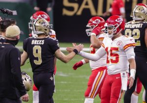 Patrick Mahomes of the Kansas City Chiefs and Drew Brees of the New Orleans Saints