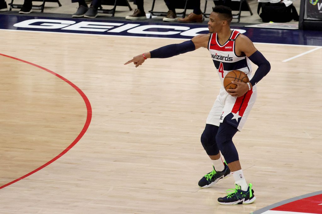 Washington Wizards guard Russell Westbrook gestures during preseason game against Detroit Pistons
