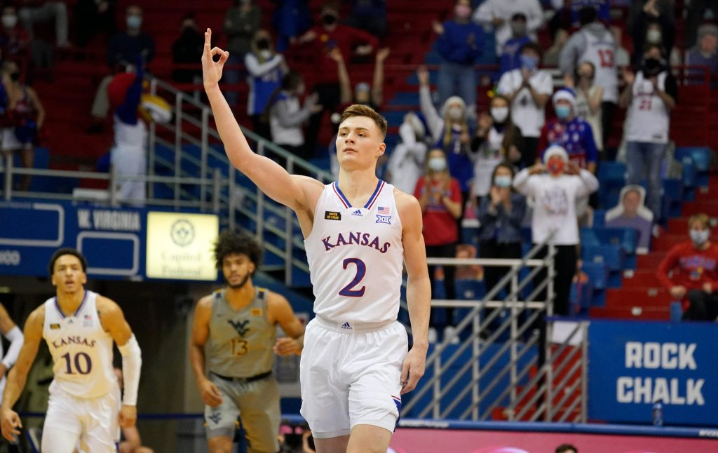Kansas Jayhawks guard Christian Braun celebrates after making a three-pointer in win over West Virginia