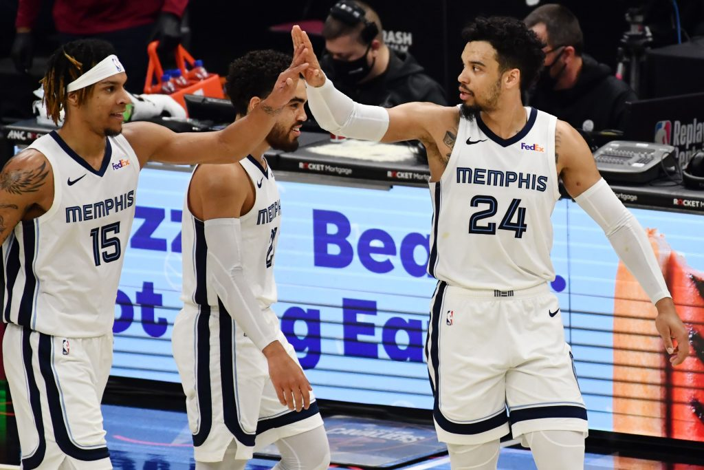 Memphis Grizzlies guard Dillon Brooks and forward Brandon Clarke celebrate during win over Cavaliers