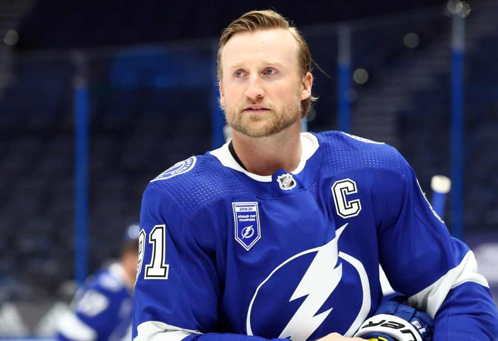Jan 13, 2021; Tampa, Florida, USA; Tampa Bay Lightning center Steven Stamkos (91) works out prior to the game against the Chicago Blackhawks at Amalie Arena.