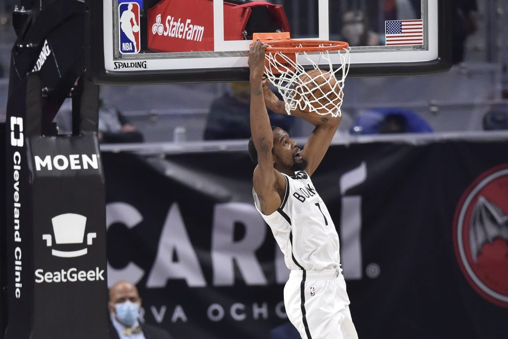 Brooklyn Nets forward Kevin Durant (7) dunks in the third quarter against the Cleveland Cavaliers at Rocket Mortgage FieldHouse.