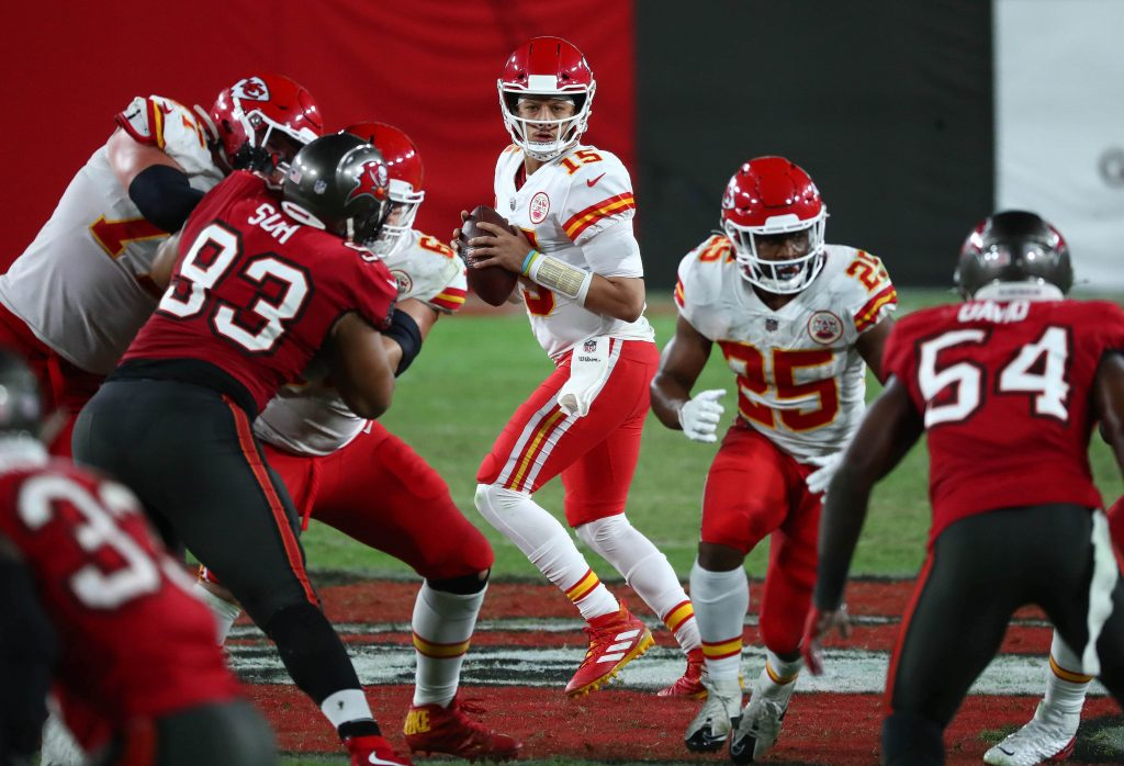 Kansas City Chiefs quarterback Patrick Mahomes (15) drops back to pass against the Tampa Bay Buccaneers during the second half at Raymond James Stadium.