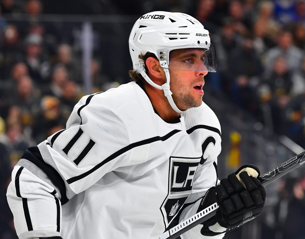 Mar 1, 2020; Las Vegas, Nevada, USA; Los Angeles Kings center Anze Kopitar (11) looks on during the first period against the Vegas Golden Knights at T-Mobile Arena.