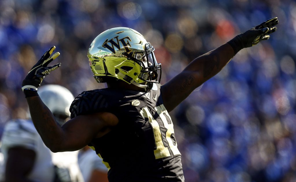 Carlos Basham of the Wake Forest Demon Deacons