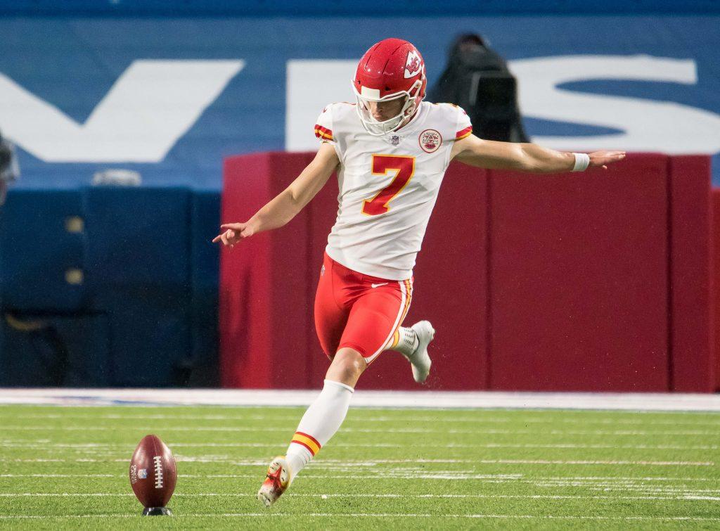 Kansas City Chiefs kicker Harrison Butker (7) sets for a kickoff against the Buffalo Bills in the second quarter at Bills Stadium.
