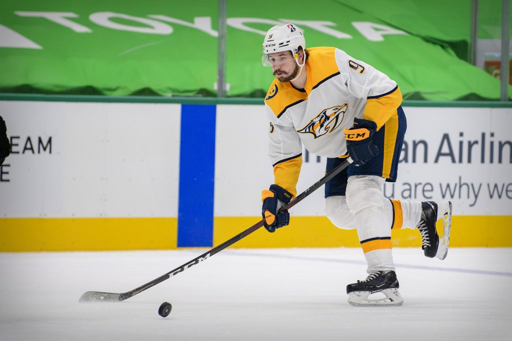 Jan 24, 2021; Dallas, Texas, USA; Nashville Predators left wing Filip Forsberg (9) in action during the game between the Dallas Stars and the Nashville Predators at the American Airlines Center.