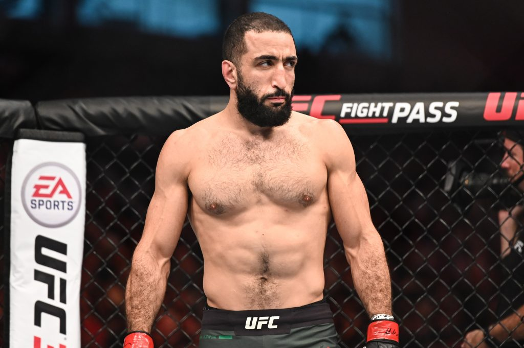 Sep 7, 2019; Abu Dhabi, UAE; Belal Muhammad (red gloves) fights Takashi Sato (not pictured) during UFC 242 at The Arena.