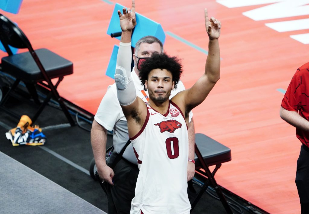 Arkansas Razorbacks forward Justin Smith (0) gestures after the game against the Colgate Raiders during the first round of the 2021 NCAA Tournament at Bankers Life Fieldhouse