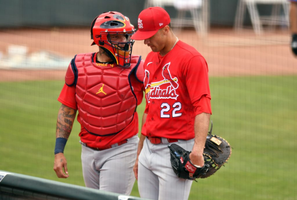 Jack Flaherty and Yadier Molina of the St. Louis Cardinals