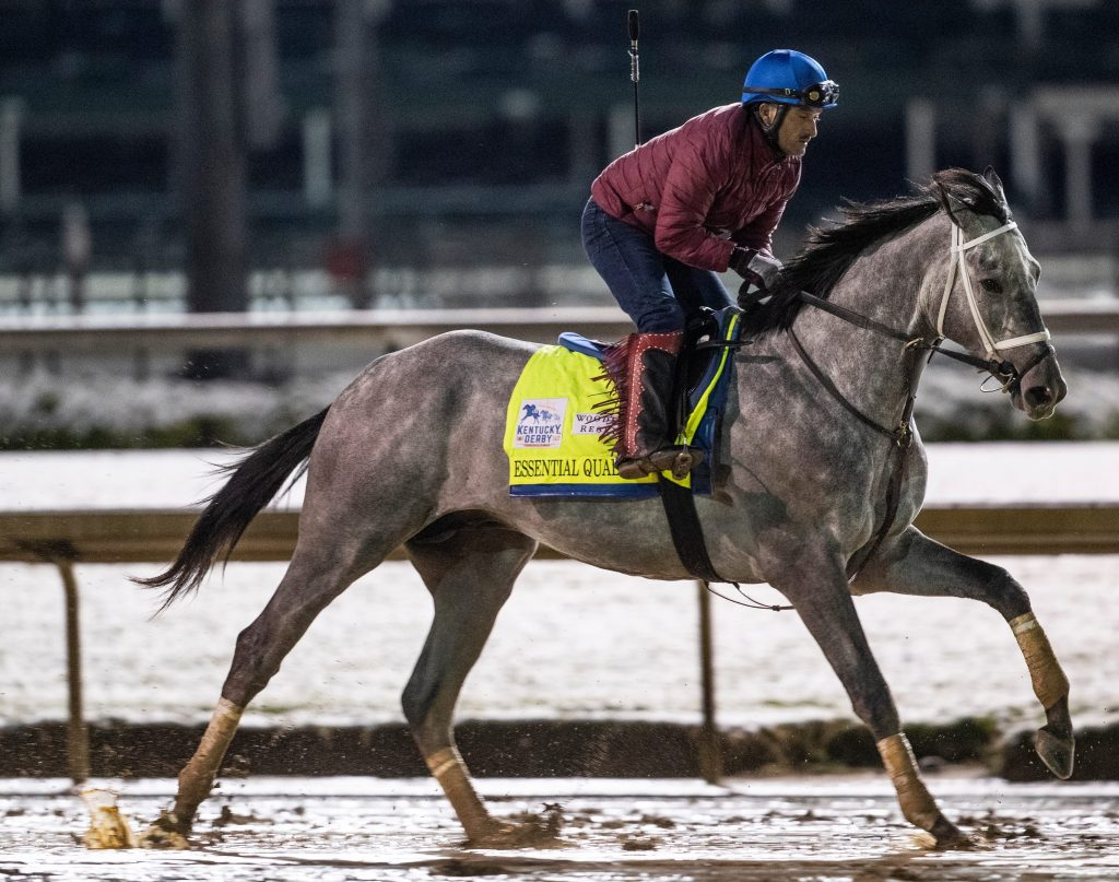 Kentucky Derby favorite Essential Quality gallops before dawn on the track at Churchill Downs. April 21, 2021